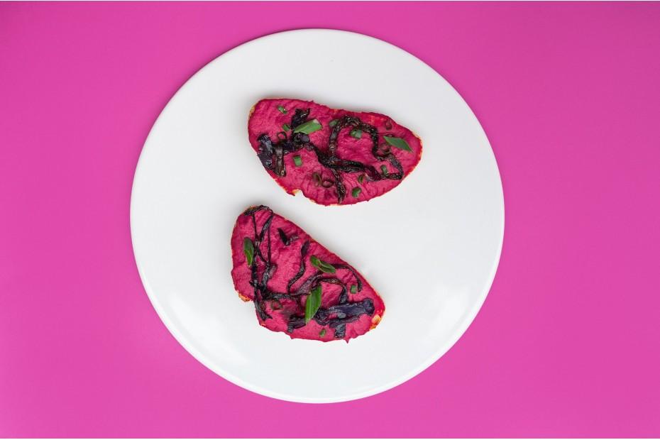 Barbie hummusz sült lila káposztával